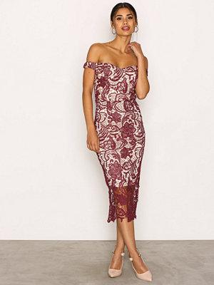 Missguided Lace Bardot Midi Dress Burgundy
