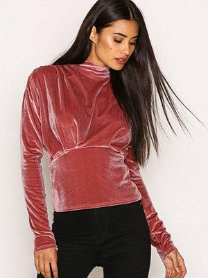 NLY Trend Covered Velvet Top Rosa