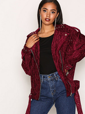Missguided Studded Velvet Biker Jack Purple