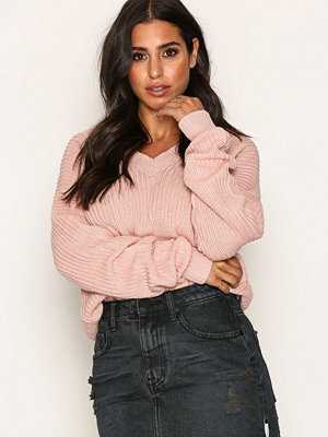 NLY Trend V-Back Lace Up Knit Ljus Rosa