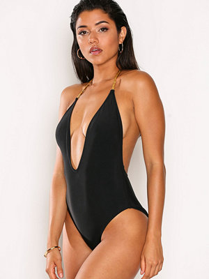 Baddräkter - Missguided Plunge Detail Chain Swims Black