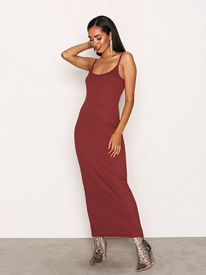 Missguided Ribbed Strappy Midi Dress Burgundy