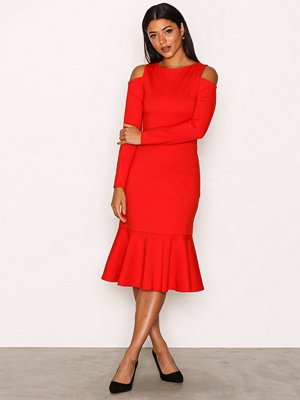 Closet Cold-Shoulder Jersey Dress Red