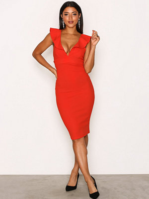 River Island Frill Bodycon Dress Red