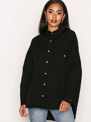 Missguided Oversized Military Shirt Black