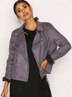 Missguided Faux Suede Biker Jacket Charcoal
