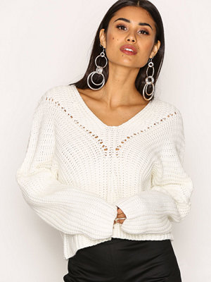 Missguided Lace Up Knitted Jumper Ivory