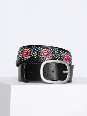 Bälten & skärp - Topshop Floral Embroidered Belt Black