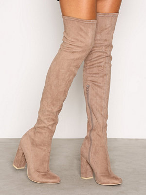 NLY Shoes Block Heel Thigh Boot Beige