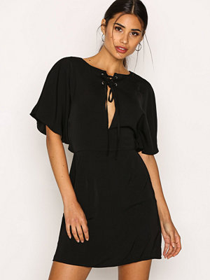 Missguided Silky Lace Up Mini Dress Black