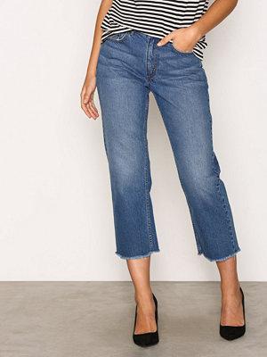 Only onlCHAD Hw Straight Crop Dnm Jeans Blå