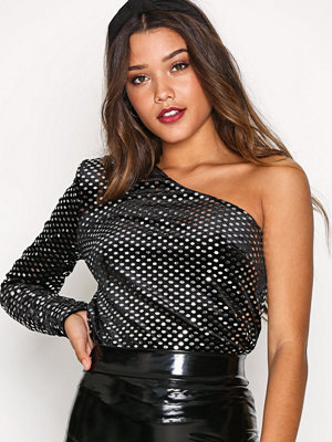 NLY One Glam One Shoulder Top Svart