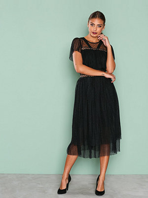 True Decadence Short Sleeve Mesh Detail Dress Black