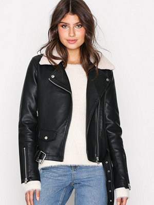 Topshop Faux Leather Bike Jacket Black