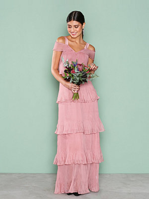 True Decadence Cold Shoulder Frill Dress Dusty Pink