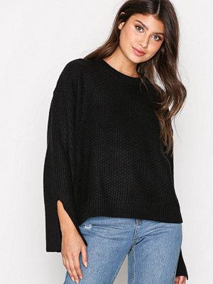 Topshop Stitch Wide Sleeve Jumper Black