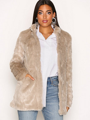 Only onlVIVA Fur Coat Otw Ljus Grå