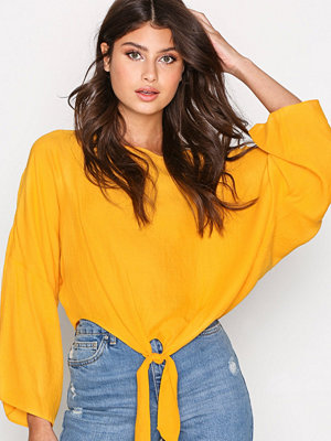 Topshop Knot Front Top Mustard