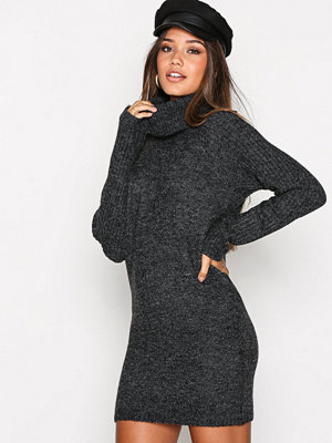 Object Collectors Item Objnonsia Rib L/S Rollneck Dress No Mörk Grå