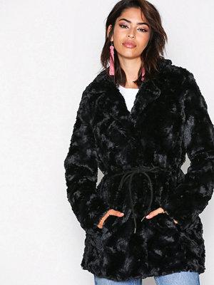 Vero Moda Vmellen Curl Fake Fur Jacket A Svart