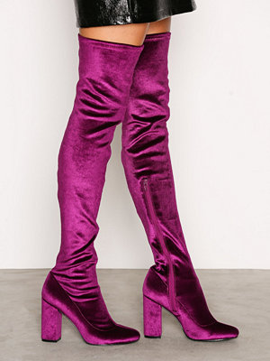 NLY Shoes Block Heel Thigh Boot Berry