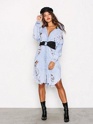 Missguided Maxi Denim Dress Stone