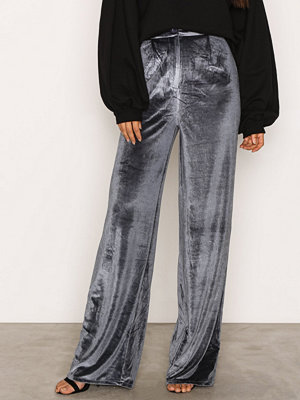 Missguided grå byxor Velvet Wide Leg Trousers Blue