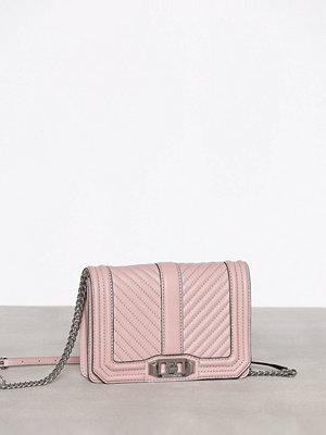 Rebecca Minkoff cremefärgad axelväska Chevron Quilted Small Love Crossbody Vintage Pink