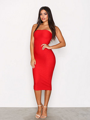 Missguided Strapless Bandage Dress Red