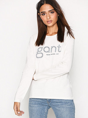 Gant O1. Gant Striped Logo LS Shirt Eggshell