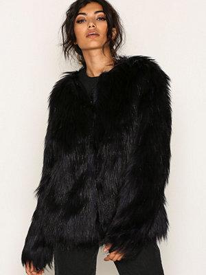 Vila Vipoppy Faux Fur Jacket Mörk Lila