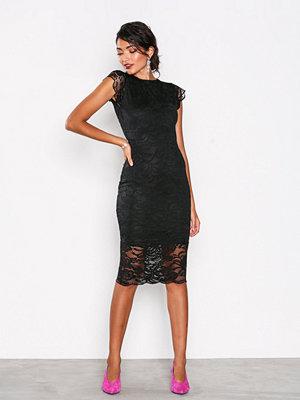 Honor Gold Faye Cap Sleeve Midi Dress Black