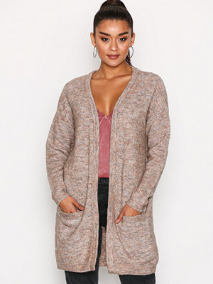 Pieces Pcrenee Ls Long Wool Cardigan Brun