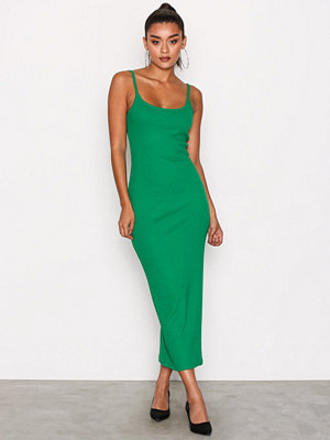 Missguided Ribbed Strappy Midi Dress Green