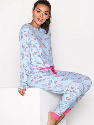 Pyjamas & myskläder - Chelsea Peers Pyjama Set Furmaid Print Blå