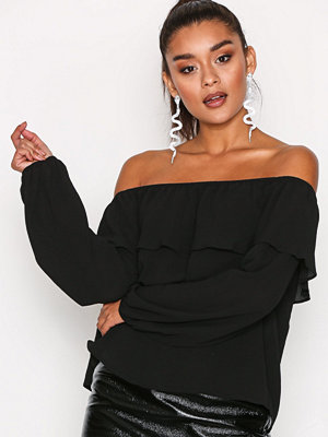 Glamorous Off Shoulder Cropped Top Black