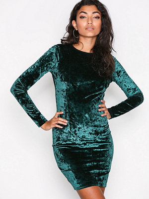 NLY Trend Crushed Velvet Mini Dress Mörk Grön