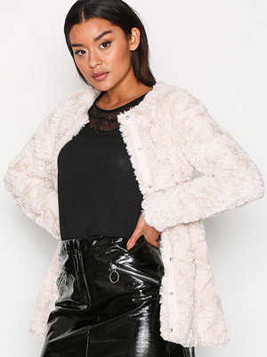 Vero Moda Vmcurl Long Fake Fur Jacket Ljus Grå