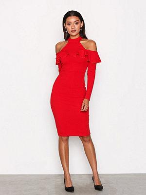 Ax Paris Cold Shoulder Choker Dress Red