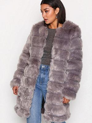Fuskpälsjackor - Y.a.s Yasfaux Fake Fur Jacket Grå