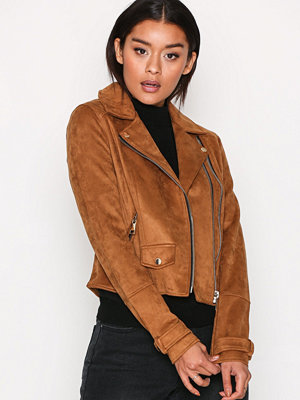 River Island Double Zip Suedette Biker Tan
