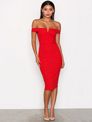 Ax Paris Bardot Midi Dress Red