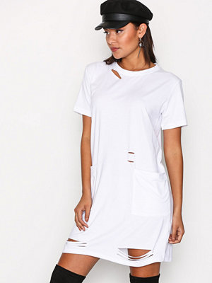 Missguided Distressed Pocket T Dress White