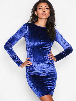 NLY Trend Crushed Velvet Mini Dress Cobolt Blue