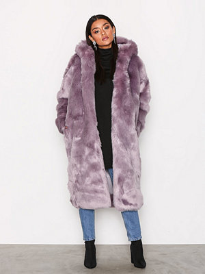 Missguided Hooded Fur Maxi Coat Lilac