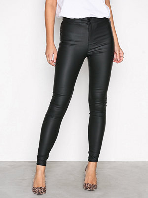 New Look svarta byxor Disco Superskinny Coated Trousers Black