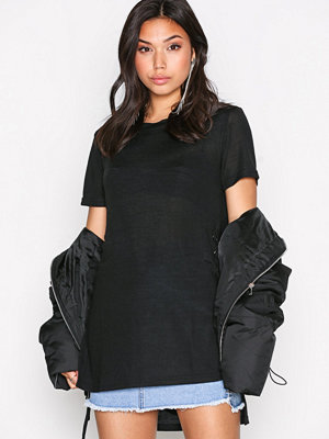 New Look Eyelet Side LL Tee Black