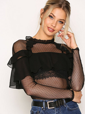 NLY Trend Mesh Me Up Blouse Svart