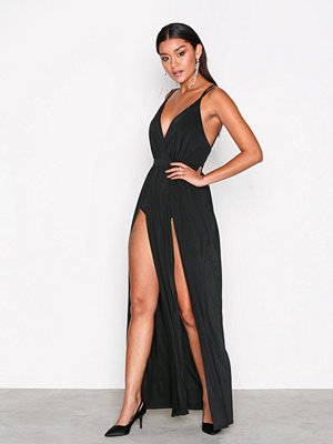 NLY One Double Slit Maxi Dress Svart