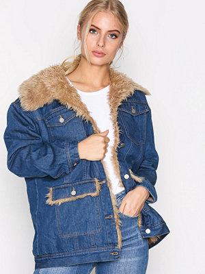 Jeansjackor - Missguided Faux Fur Denim Jacket Stonewash